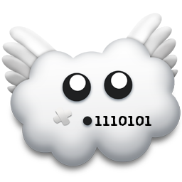 Logo. Cloud saying 117 in binary